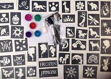 Glitter Tattoo Kit for Girls 40 Stencils Plus Frozen Unicorns Trolls UK Made