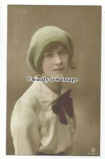 gla0064 - Miss Joan Beryl in a Green Knitted Beret/Hat  - postcard