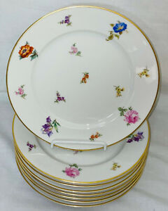 """8 Rosenthal WINIFRED FLORAL* 7 5/8"""" SALAD PLATES W/GOLD*"""