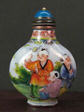 Chinese Six Boy Play Hand Painted Copper Enamel Snuff Bottle