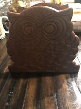 Vintage Wood Owl Napkin Holder Or Letter Holder  6 Inches Wide