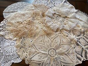 Vintage Handmade Mixed Large Lot 11 Crochet Doilies Doily - Ivory Cream White