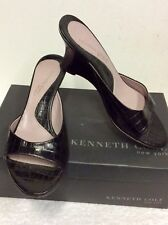 KENNETH COLE BLACK LEATHER PEEPTOE WEDGE HEEL MULES SIZE 5/38 COST £110.00