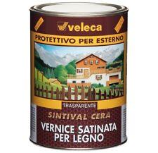 VELECA vernice satinata trasparente per legno da esterno SINTIVAL CERA 0,5L e 1L