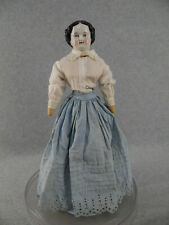"15"" antique Civil War German China shoulder head Doll with cloth body 1850s/1860"