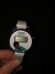 VINTAGE 1980's Michael Jackson THRILLER Digital Watch Leather Band Works!