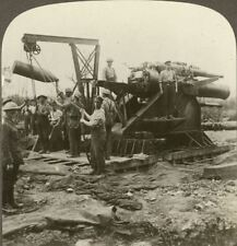 """Feeding """"Grannie"""" - Shell Being Hoisted into Position. Underwood Stereoview #9"""