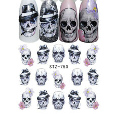 Nail Art Stickers Water Decals Transfers Halloween Smoking Skulls (STZ750)