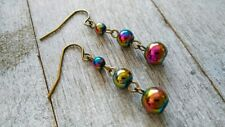 Ball Drop Dangle Earrings Glass Rainbow Long Antique Gold Plated Stainless Steel