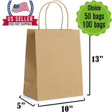 Brown Kraft Paper Gift Bags Bulk with Handles-[10 X 5 X 13]