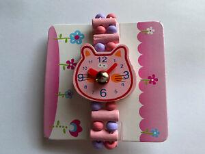 Kinder Uhr Holz Lernen rosa/lila Armband Schultüte