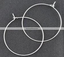 200 pcs. Silver Plated Wine Charm/Earwire Hoop Rings - 30mm- 20 Gauge