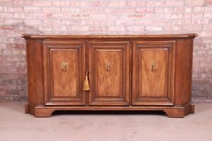 Baker Furniture French Regency Walnut Sideboard or Bar Cabinet