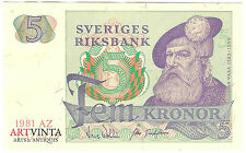 5 Fünf Schwedische Kronen Fem Kronor Sverige Five Crowns Sweden Banknote 1981