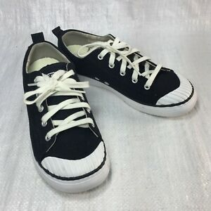 Keen Elsa 1017144 Black Canvas White Rubber Cap Toe 5 Eye Womens Sneakers Sz 8.5