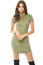 AX Paris Womens Bodycon Mini Dress Khaki Green Faux Suede Short Sleeve Casual 12