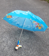 Kids Wooden Pirate Umbrella Blue Sea Buccaneer Brolly Waterproof Rain Cover