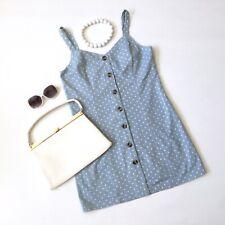 Vtg pale blue SUMMER TEA DRESS 14 polka dot spotty button through sundress indie