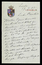 Prince Edward Duke of Saxe-Weimar Magnificent Embossed Signed Letter 1902