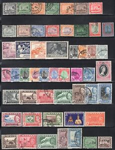 Selangor 1935-62 Selection 52 Stamps Used or Mint