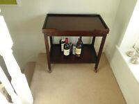 Antique Oak Two Tier Folding Drinks Trolley / Baize Games & Card Table