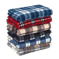 Tartan check Polar Fleece Blanket Sofa Throw Bed Throw Large Sizes 150 x 200 cm
