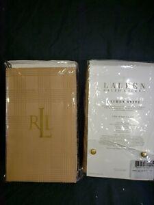 NWT-Ralph Lauren Glen Plaid 2 qty King Pillow Shams, Camel NEW