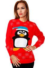 CHRISTMAS JUMPER RED LONG SLEEVED PENGUIN MOTIVE XMAS SIZE UK 10-12