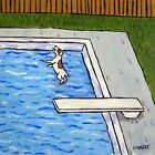 jack russell terrier diving at the pool dog art tile coaster gift gifts artwork