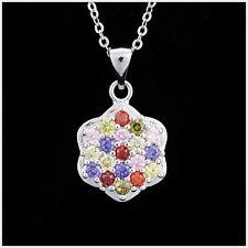 Girl Multi-color Zircon Gemstone Pendant 925 Sterling Silver Chain Necklace P15