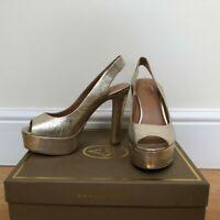 Harvey Nichols Gold Slingback Peeptoe heels £145, Size 37 (4) Wedding Party