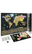 Scratch Off World Map Poster BONUS Europe Map Accessories and Gift Packaging