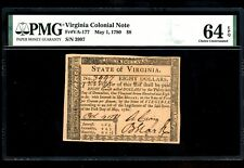 Us Colonial Currency Virginia Note Fr# Va-177 May 1, 1780 $8 Pmg 64 Epq Ch Unc
