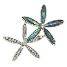 Tide Jewellery Paua shell double Flower brooch with inset glass stones brooch