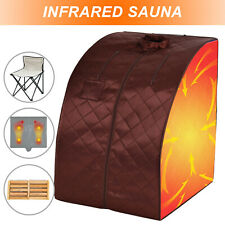 Portable Far Infrared Sauna Tent Indoor Home Weight Loss Spa Detox w/Chair Brown