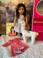 American Girl Chrissa, Doll of Yr 2009, Meet & Sundress, Llama, Book, EUC