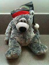"2004 HARLEY DAVIDSON JINGLE BEAR 15"" GRAY PLUSH BEAR Faux Leather SANTA HAT"