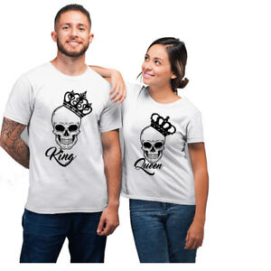KING AND QUEEN SKULL COUPLES MATCHING T-SHIRT HUSBAND WIFE GIFT ANNIVERSARY TOP