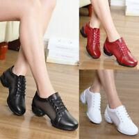 New Women Athletic Sneakers Low Cut Leather /& Net Split Jazz Hip Hop Dance Shoes