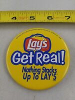 Vintage LAY'S Get Real STACKS Up To LAY'S Advertising pin button pinback *EE90