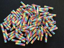 10pc polymer clay rainbow candy sticks, kawaii cabonchon, DIY jewlery, scrapbook