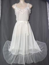 "Med.""Mary Barron"" Bridal white,Vintage nightgown,lingerie,nylon,soft,waltz,sheer"