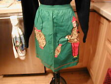 BEAUTIFUL VINTAGE HANDMADE COTTON HALF APRON CHINESE GIRL AND KETTLE