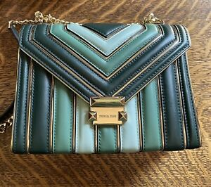 Michael Kors Tri Color Whitney Convertible Crossbody Quilted Metal Lined Lrg Bag
