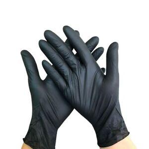 100 Nitrile Disposable Gloves Powder Latex Free Mechanic Tattoo Valeting Black