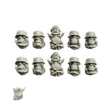 Ork Blitzkrieg Orcs Heads 10 Heads with Helmet Bitz Spellcrow