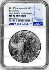 2018 AUSTRALIA Kookaburra HIGH RELIEF ANTIQUED 2oz Silver $2 COIN NGC MS70 ER