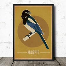 Magpie Birds Vintage Retro Style Nature Poster Print
