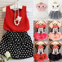 Toddler Kids Baby Girls Outfits T-shirt Tops + Tutu Dress Skirt Summer 2Pcs Set