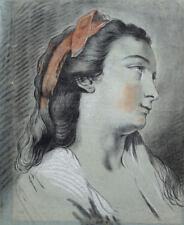 JOSEPH BENOIT SUVEE DESSIN XVIIIe PORTRAIT de FEMME dlg F.A VINCENT,  J.B GREUZE